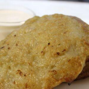 Оладьи картофельные фаршированные мясом 4